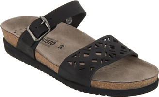Mephisto Leather Double Strap Slide Sandals - Hirena
