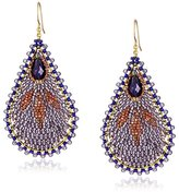 Miguel Ases Amethyst Teardrop Beaded Earrings