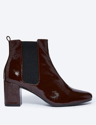 Marks and Spencer Leather Patent Block Heel Chelsea Ankle Boots