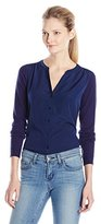 NYDJ Women's Woven Blouse-Sweater Combo Caridgan