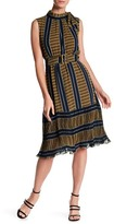 Gracia Belted Stripe & Pleated Hem Dress