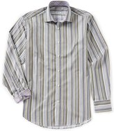 Thomas Dean Multi-Stripe Long-Sleeve Woven Shirt