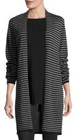 Eileen Fisher Stripe-Print Open-Front Long Cardigan, Black/Ash