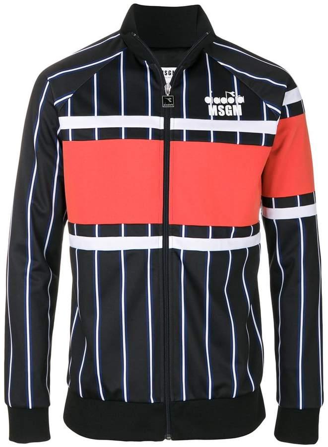MSGM striped zipped sweatshirt