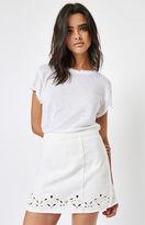 PacSun White Eyelet Embroidered Denim Skirt