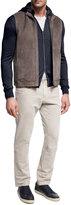 Loro Piana Lightweight Suede & Shearling Fur Vest, Brown