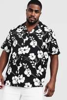 Big & Tall Monochrome Floral Revere Collar Shirt