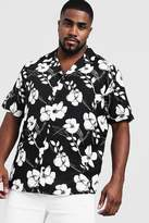 BoohooMAN Big & Tall Monochrome Floral Revere Collar Shirt