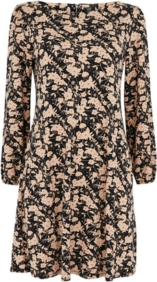 Wallis PETITE Neutral Floral Print Shift Dress