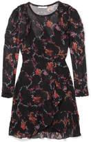 IRO Loxie Printed Ruffled Georgette Wrap-effect Mini Dress