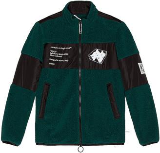 Off-White Polar Fleece Jacket in Dark Green & White | FWRD