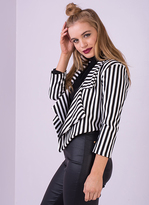 Missy Empire Sabrina Striped Collared Cropped Blazer