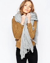 Asos Oversized Woven Scarf With Extra Long Fringe