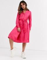 NA-KD Na Kd satin dress in neon pink