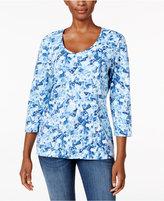 Karen Scott Mosaic-Print V-Neck Top, Only at Macy's