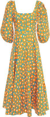 STAUD Pleated Floral-print Linen-blend Midi Dress