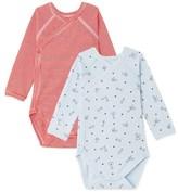 Petit Bateau Pack of 2 newborn baby boy bodysuits