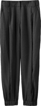 Tibi Wesson Linen Double Waisted Sculpted Pant in Storm Grey