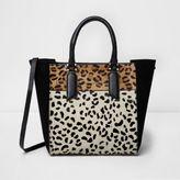 River Island Womens Black leopard print leather tote bag