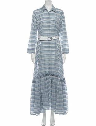 STAUD Plaid Print Long Dress Blue