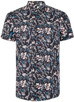 Topman Multicoloured Jungle Print Short Sleeve Casual Shirt