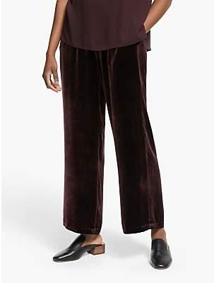 Eileen Fisher Velvet Wide Leg Ankle Trousers, Casis