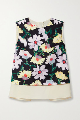 Marni - Open-back Layered Floral-print Cotton-poplin And Voile Top - Black
