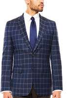 STAFFORD Stafford Year-Round Stretch Dark Blue Windowpane Sport Coat- Classic