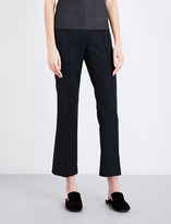 Helmut Lang Cropped flared wool-blend trousers