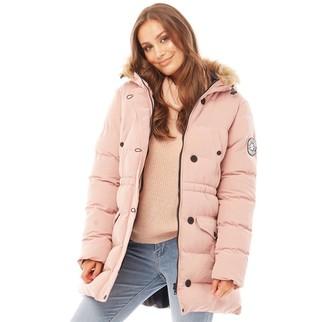 Brave Soul Womens Whitehorse Long Bubble Jacket Dusty Pink