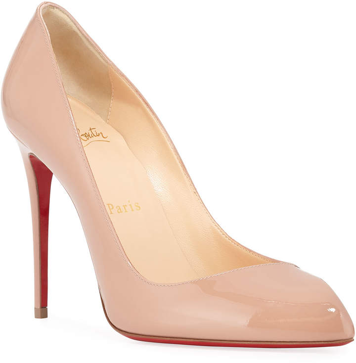 lowest price 0a686 d4274 Corneille Asymmetric Patent Red Sole Pumps