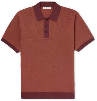 Mr P. Slim-Fit Textured-Knit Cotton-Pique Polo Shirt