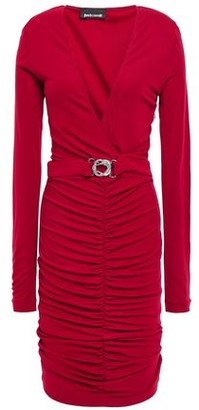 Just Cavalli Belted Ruched Crepe-jersey Dress