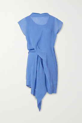 Nina Ricci Draped Plisse Cotton And Silk-blend Dress - Blue