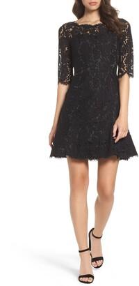 Eliza J Lace Fit & Flare Cocktail Dress