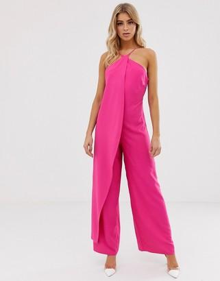 Asos Design DESIGN cross front jumpsuit with drape-Pink