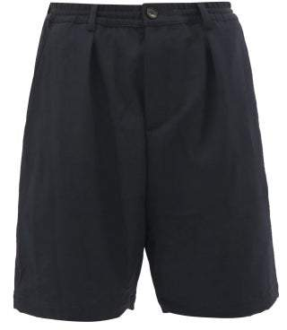 Marni Wide-leg Twill Shorts - Mens - Navy