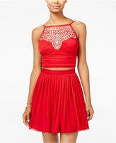 B. Darlin Juniors' 2-Pc. Embellished Halter Fit & Flare Dress