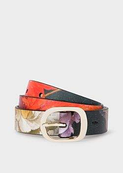 Women's 'New Masters' Print Leather Gold Buckle Belt
