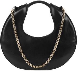 BY FAR Lune black leather shoulder bag