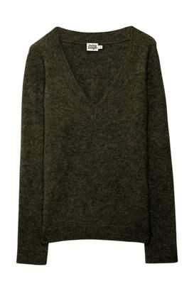 Twist & Tango - Emma V-neck sweater in deep khaki - alpaca wool | S . | khaki - Khaki