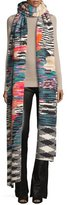 Missoni Long Multipattern Runway Scarf, Black/White/Multicolor
