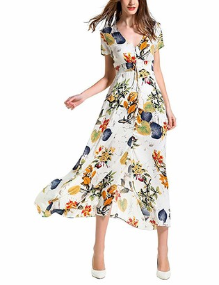 Enjoyoself Women's Maxi Dresses Long V Neck Button Down Short Sleeve Loose Plain Casual Floral Print Front Slit Women Summer Beach Party Wedding Light Beige
