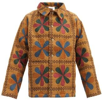 Bode Tableau Embroidered Cotton-cloque Jacket - Beige