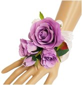 Angel Isabella Wrist Corsage(XLWC003-LV)-Beautiful Quality Keepsake Wrist corsage-roses and pearl bracelet