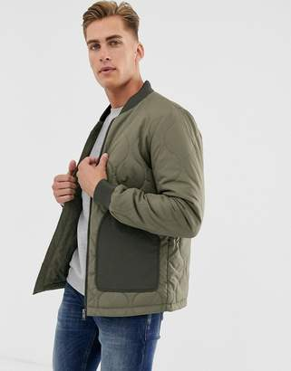 Selected quilted jacket with patch pockets in khaki-Green