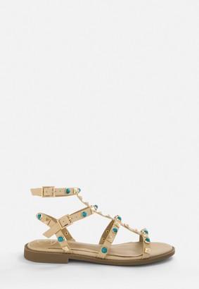 Missguided Taupe Jewel Stud Gladiator Sandals