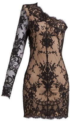 Alexander McQueen Asymmetric Sarabande-lace Mini Dress - Womens - Black Multi
