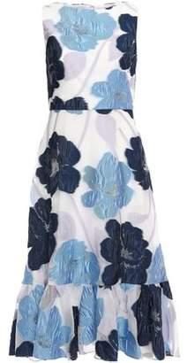 Lela Rose Ruffle-trimmed Fil Coupe Organza Midi Dress