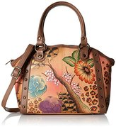 Anuschka Handpainted Leather Large Studded Satchel Floral Safari Brown